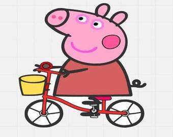 Peppa Pig On Bike, Peppa Pig Svg File, Svg Cutting File, Svg Cut File, Svg For Cricut, Svg For Silhouette, Svg Disney file,