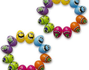Set of 24 Fillable Colorful Monster Plastic Easter Eggs