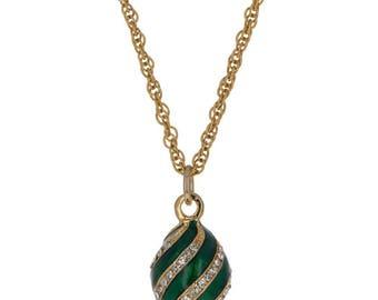 "Green Enamel Crystal Spire Royal Egg Pendant Necklace 22"""