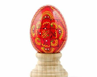 Red Ukrainian Wooden Easter Egg
