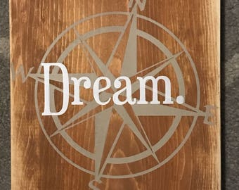 Explore Dream Discover - Wooden Travel Sign - Wanderlust - Travel Quote - Adventure - Graduation Gift - motivational quote - compass
