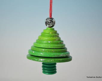 Green Sparkly Button Tree: Christmas Decoration made with ordinary everyday buttons, made to look like a Christmas Tree with added bling