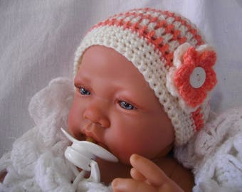 color coral and off-white hand made crochet baby Hat great for cold weather for a wedding, ceremony, party