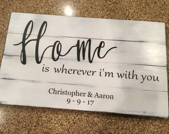 Home is wherever I'm with you Customized with names and Date