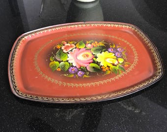 14 inch metal tray hand painted and marked on back