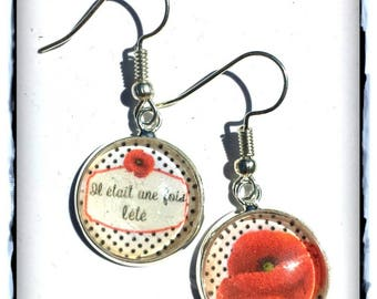 Poppy with black polka dots cabochon earrings