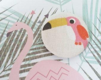 Badge en tissu - motif toucan