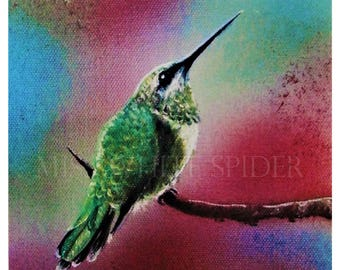 Contemplation Horizons, Original painting, digital artwork, humming bird, print