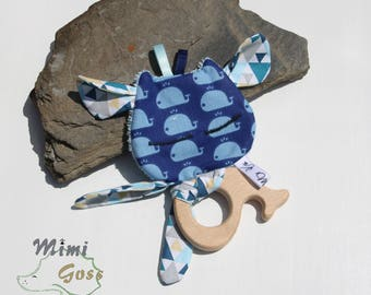 Rattle/cuddly little monster with wooden ring. Customizable.
