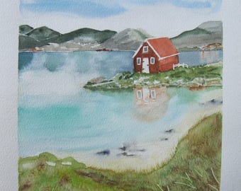 "Watercolor ""Red House in Norway"""