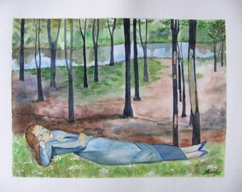 """daydreaming in the Woods"" watercolor painting"