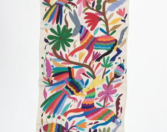 Otami Mexican Embroidered Fabric, Multi-color floral and Animal Hand-embroidery on Ivory Cotton, Tenango Textile