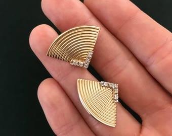 Vintage Deco Style Gold Fan Earrings