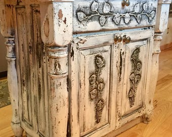Sold Farmhouse Kitchen Island Butcher Block Sideboard Buffet Cupboard Cabinets Storage Cabinet Vintage French Country