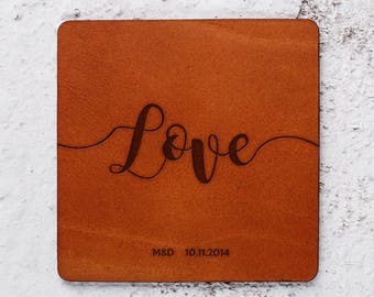 Love, Newlywed gifts, 3 year anniversary gifts, Personalised Leather coasters sets, Leather Anniversary gift, Leather gift