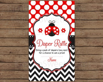 Printable Red and Black Polka Dot Ladybug Ladybird Baby Shower Diaper Raffle, JPEG 300DPI, 3.5x2 inches