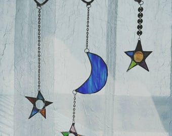 Multi-colored colored Celestial Stained Glass Suncatcher, moon and stars