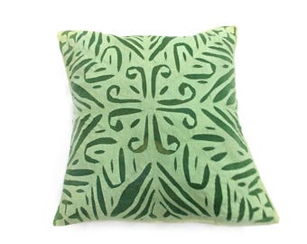 Indian Pure Cotton Cushion Cover Home Cut Work Decorative Green Color Size 17x17""