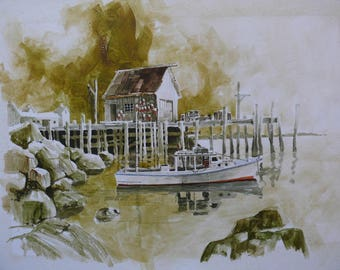 "Richard Joseph BRZOZOWSKI AWS (USA *1932) Watercolor ""Fishing Boat in Harbor"""