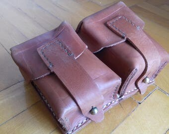 Vintage JNA army leather Mauser ammo double belt pouch military ammunitio