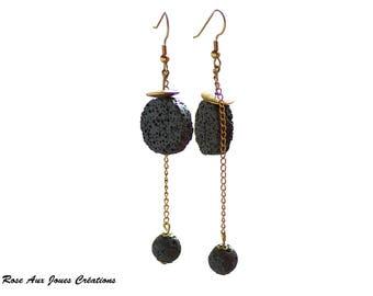Black lava stone bead dangle earrings