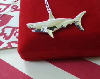 925 sterling silver Shark pendant/necklace 925 sterling silver/Shark charm/silver Shark neclace/océan Jewelry