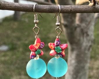 Floral Starfish Earrings, Seaglass Look Beads, Cruise Wear Earrings, Beach Tropical Ocean Inspired Earrings, Caribbean Blue Beads