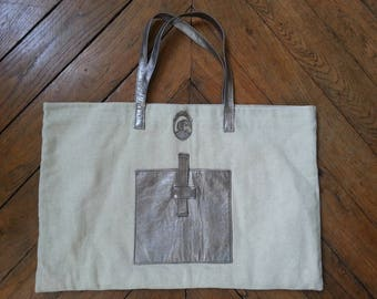 SILVER SOFT LEATHER WITH LINEN TOTE