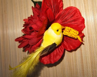 Gold finch hibiscus Hair Flower -Pinup/Rockabilly/Vintage Girl/VLV/tropical-