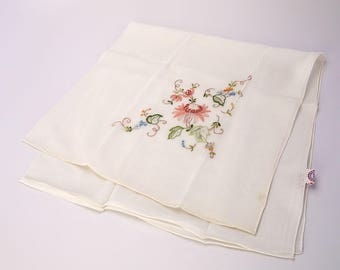 Vintage Ivory Silk Hand Embroidered Scarf