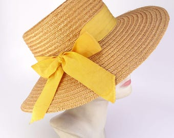 1960s Yellow Straw Hat with Ribbon Bow