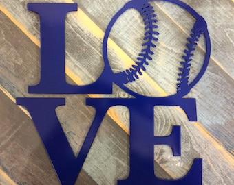 "LOVE Basketball, Baseball, Football, or Soccer - 12"" square Metal wall sign"