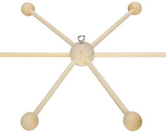 Support 6 branches mobile wooden hanging - natural-Diam: 35cm