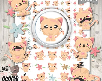 50%OFF - Cat Stickers, Cat Planner Stickers, Printable Planner Stickers, Planner Stickers, Mood Stickers, Pet Stickers, Kitten Stickers