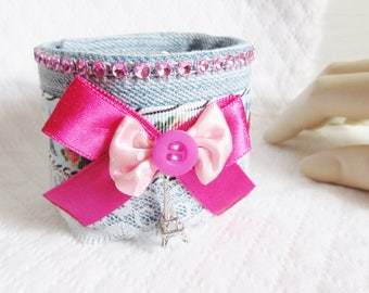 Paris themed denim Cuff Bracelet