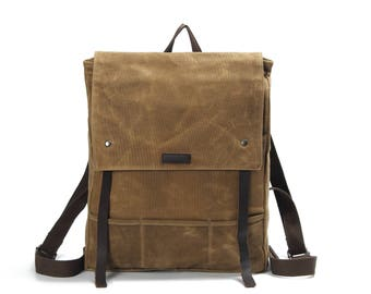 Flap-top Leather Canvas backpack (Khaki)
