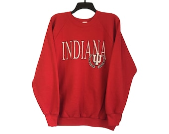 Vintage Indiana University IU Hoosiers Red Crewneck Sweatshirt X-Large