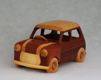 Traditional Mini Cooper Model Car Vehicle Registration Plate Wooden Toy Montessori Theory