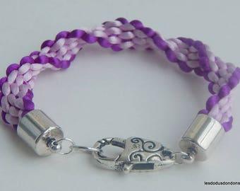 Beaded braided kumihimo twisted purple