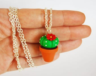 Cactus Succulent long necklace in fimo-red flower-collection CactusLovers