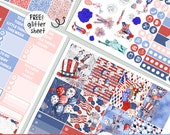 4th of JULY - KIT - printable Independence Day USA silhouette cut file ,  printable planner stickers Erin Condren Life Planner