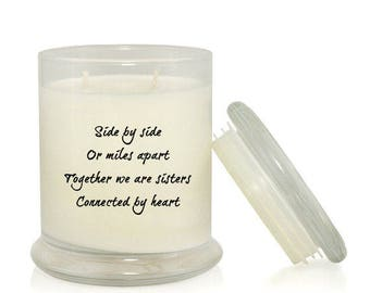 Side By Side Or Miles Apart 8.5 oz Soy Candle; Gift Ideas for Sister; Sister Candle; Sister Quotes; Across the Miles; Christmas; Birthday