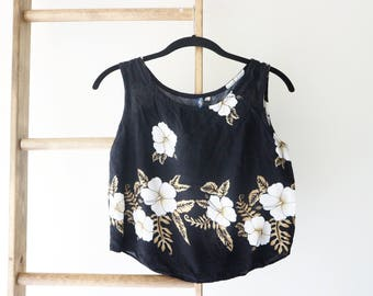 Vintage Dark Hawaiian Cropped Top - Women's XS - Cropped Top - Floral, Hipster, Hawaiian, Urban