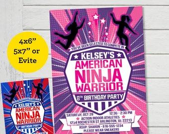 American Ninja Warrior Girls Invitation ANW Birthday Ninja Warrior Australian Parkour Obstacle Course Party Invite (Evite) Digital File