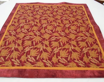 Handmade quilted altar cloth for Lughnasadh Lammas golden wheat on red