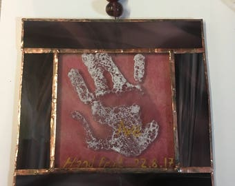 Childs hand print glass hanger