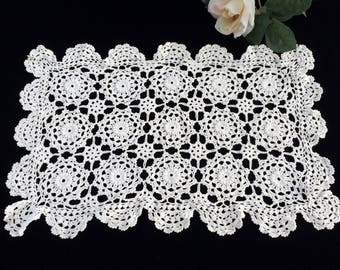 Crochet Table Runner. Lace Table Runner. Vintage Crocheted Rectangular Table Runner. Crocheted White Table Runner or Placemat RBT2373
