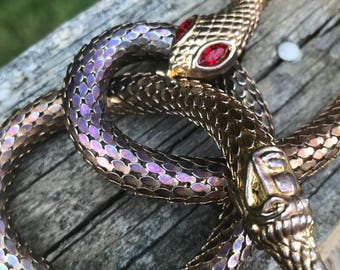 Snake  Necklace . Gold tone Mesh Jewelry