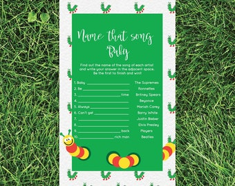 Name That Baby Song Caterpillar Baby Shower Games Ideas Activities, Gender Neutral Boy Girl Instant Download Baby Tune Fun 0111-A