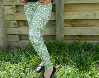 Avocado Leggings - Green Yoga Leggings, Yoga Pants, Green and White Mandala Art Tights, Stretch Pants
